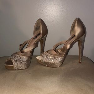 Nude satin embellishes platforms; size 7.5